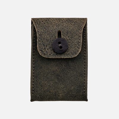 Distressed Soft Leather Mini Watch Pouch In Green