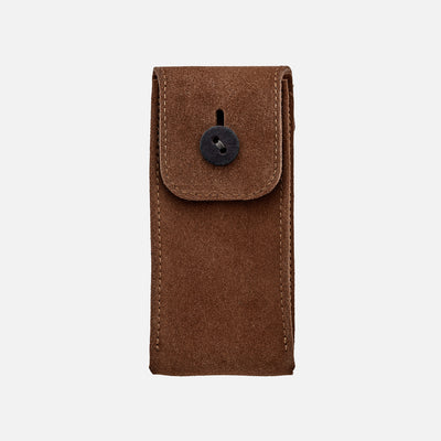 English Suede Watch Pouch In British Tan