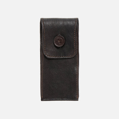 Smooth Leather Watch Pouch In Dark Brown