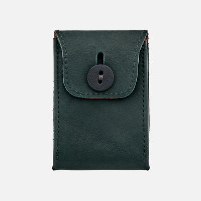 Soft Leather Mini Watch Pouch In Hunter Green