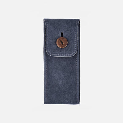 Aged Leather Watch Pouch In Blue