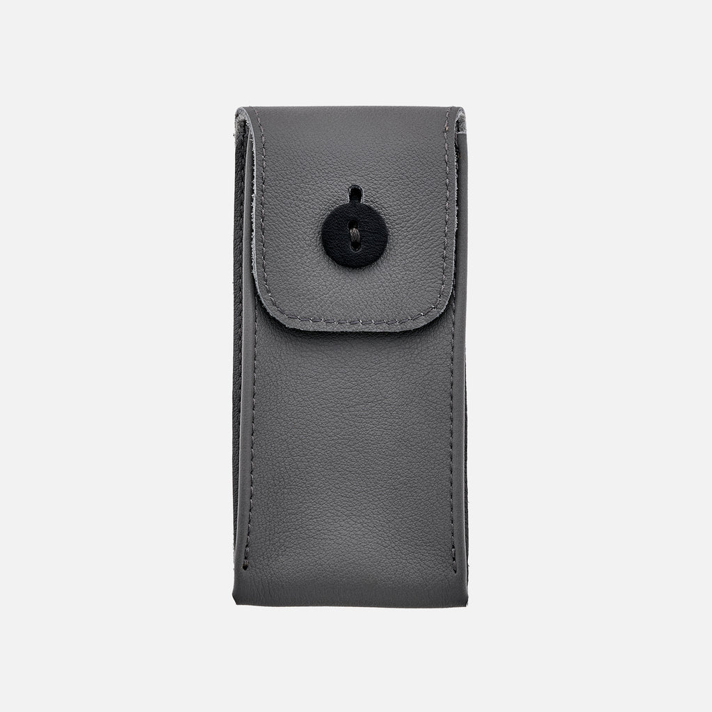 Soft Leather Watch Pouch In Light Grey