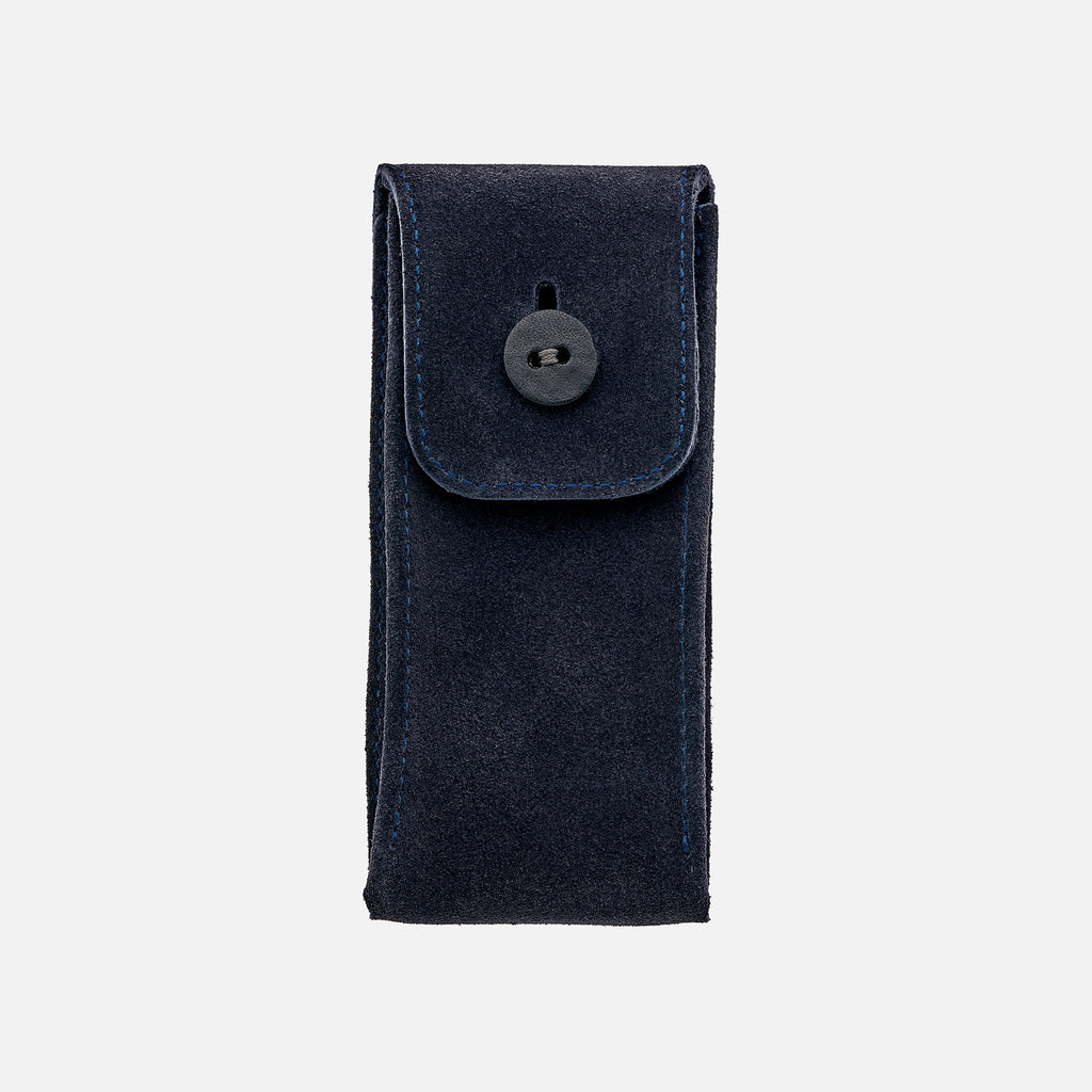 English Suede Watch Pouch In Navy
