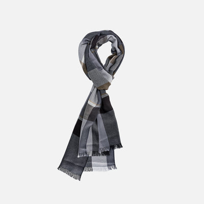 Black And Grey Plaid Cashmere Scarf