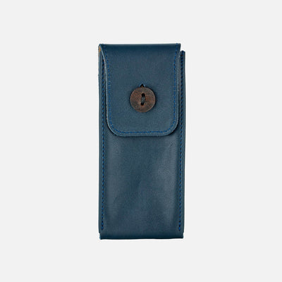 Soft Leather Watch Pouch In Navy Blue
