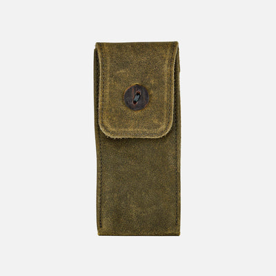 Distressed Soft Leather Watch Pouch In Olive Green