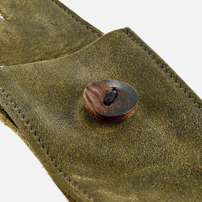 Distressed Soft Leather Watch Pouch In Olive Green alternate image.