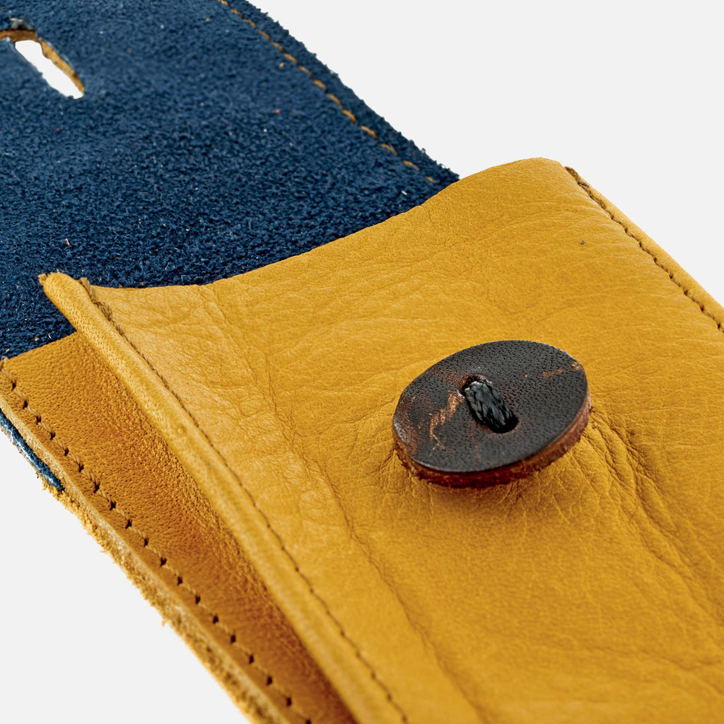 Soft Leather Watch Pouch In Mustard Yellow