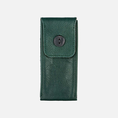 Soft Leather Watch Pouch In Hunter Green