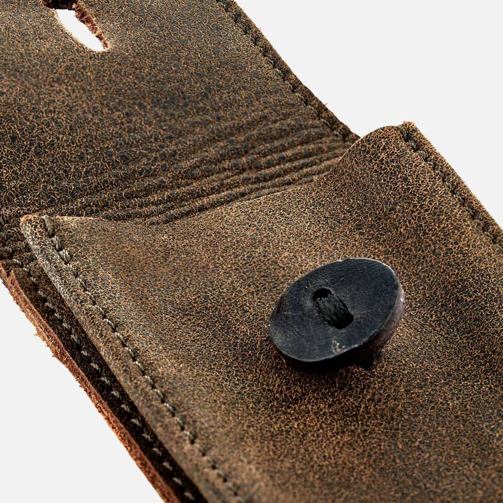 Distressed Soft Leather Watch Pouch In Brown