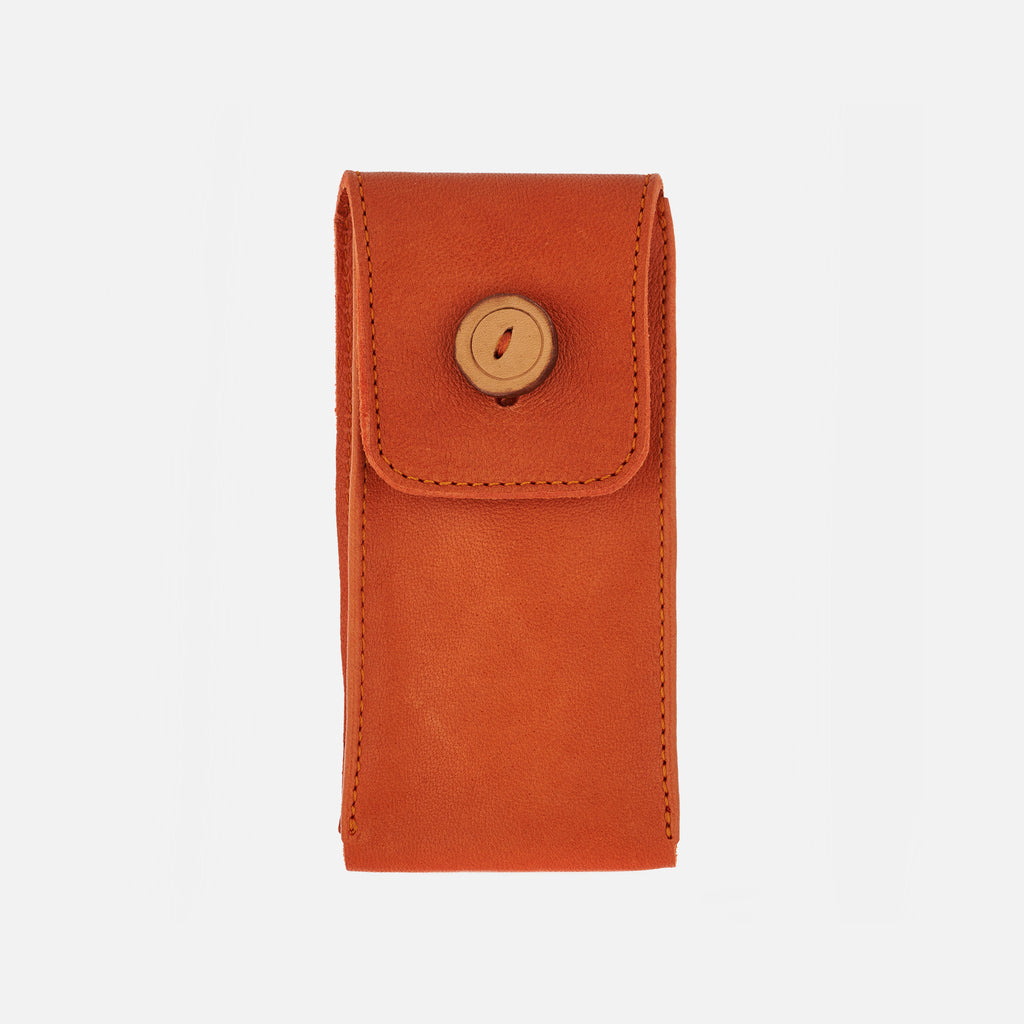 Smooth Leather Watch Pouch In Orange
