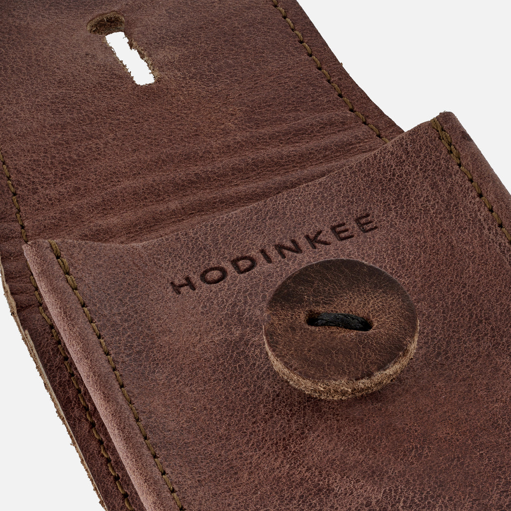 Aged Leather Watch Pouch in Red Clay