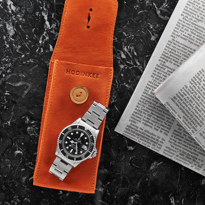 Smooth Leather Watch Pouch In Orange alternate image.