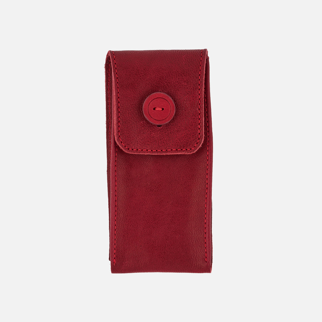 Smooth Leather Watch Pouch In Red