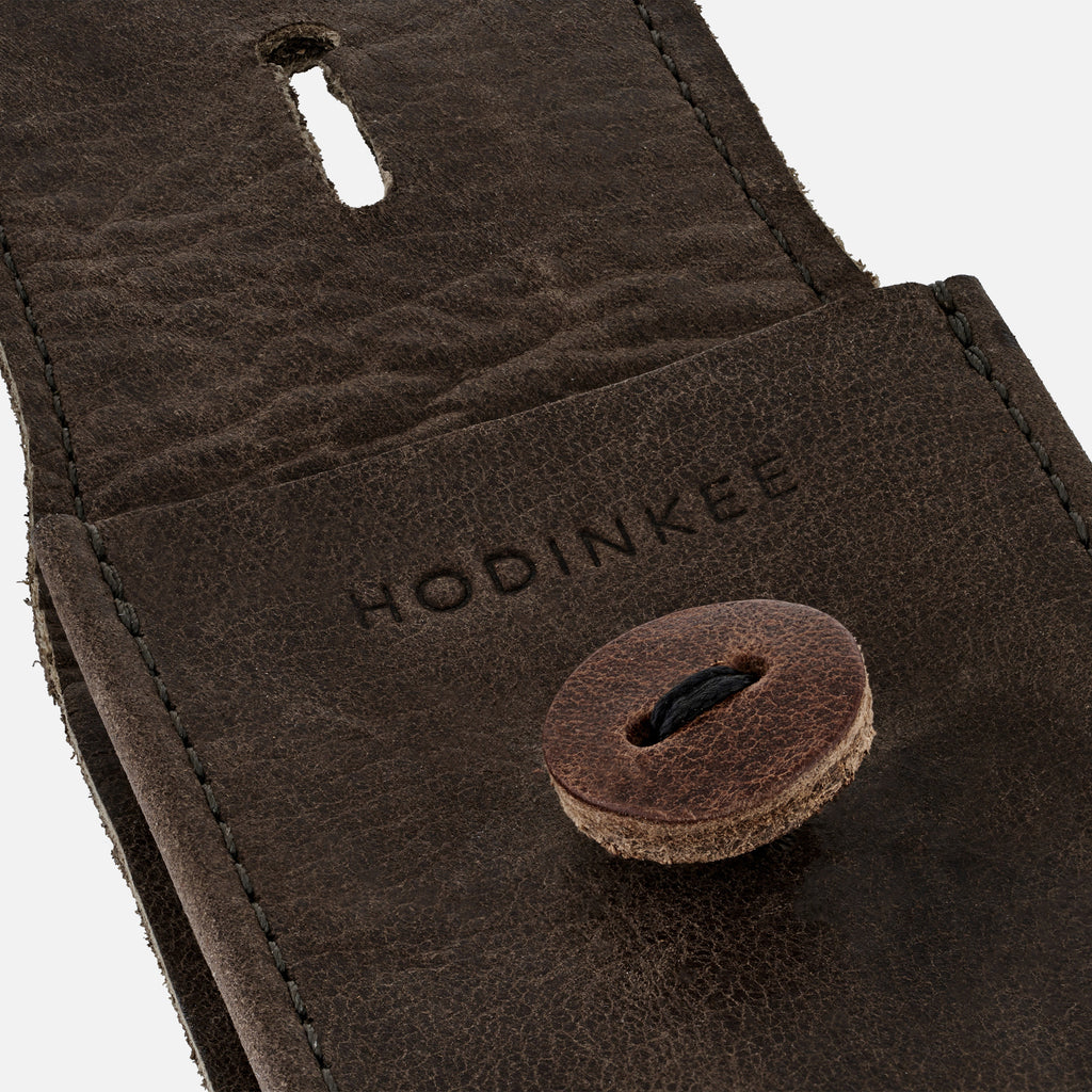 Aged Leather Watch Pouch In Brown