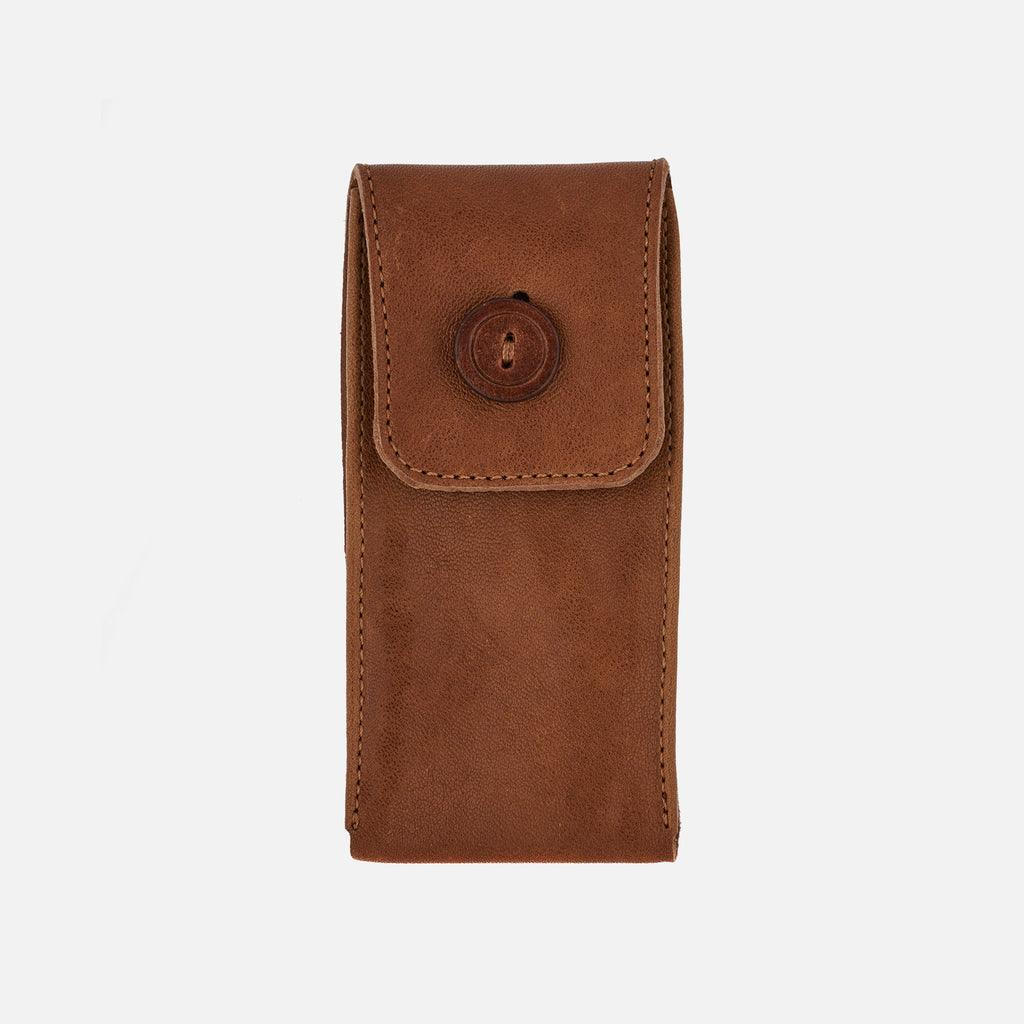 Smooth Leather Watch Pouch In Light Brown