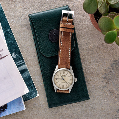Soft Leather Watch Pouch In Hunter Green alternate image.