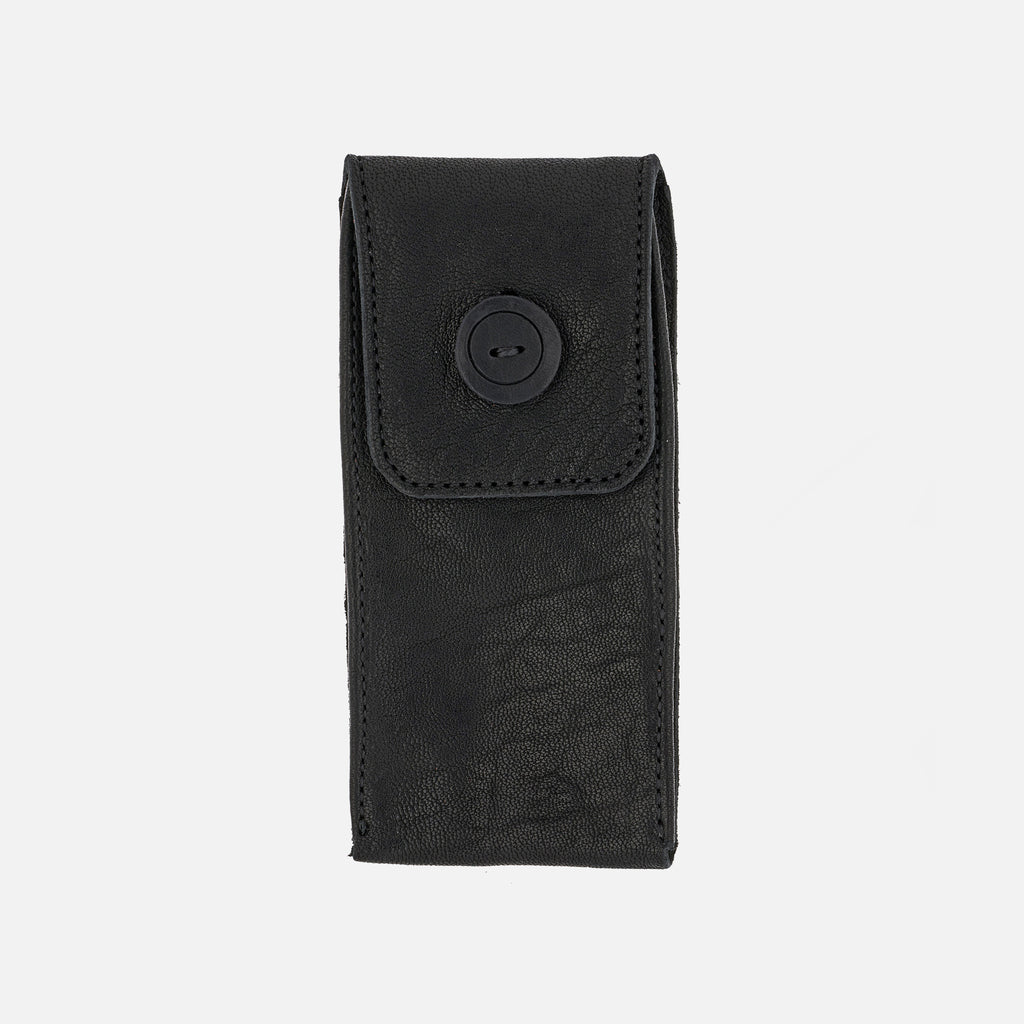Smooth Leather Watch Pouch In Black