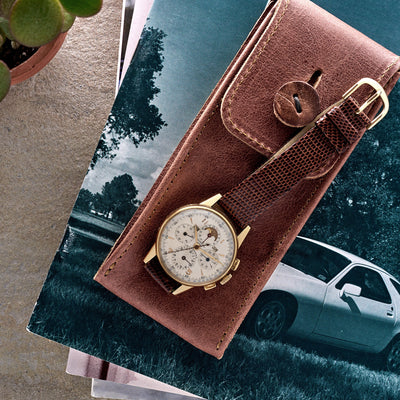 Aged Leather Watch Pouch in Red Clay alternate image.