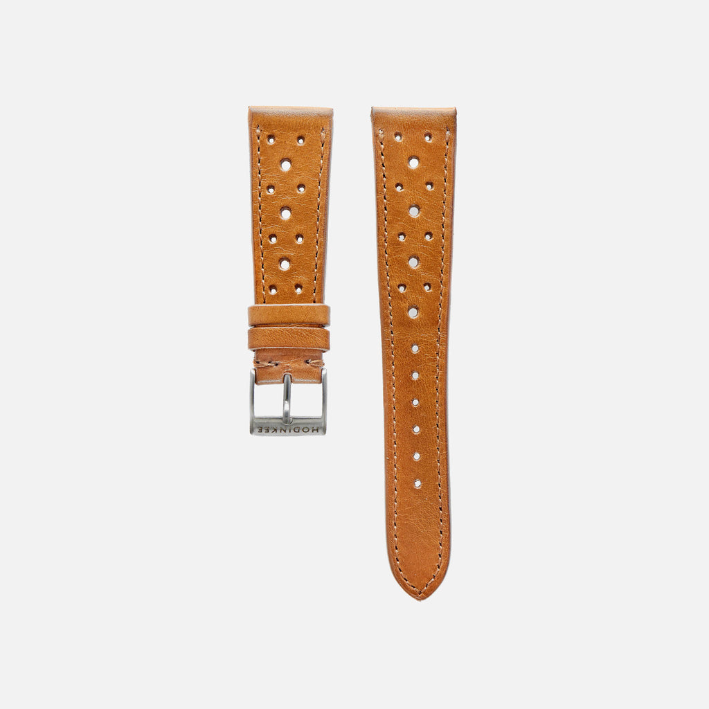 Light Brown Leather Racing Watch Strap