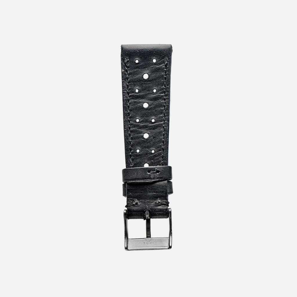 Black Leather Racing Watch Strap