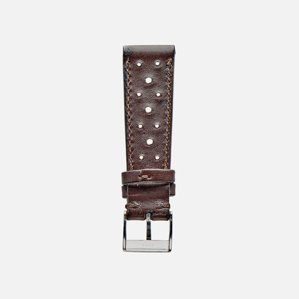 Dark Brown Leather Racing Watch Strap