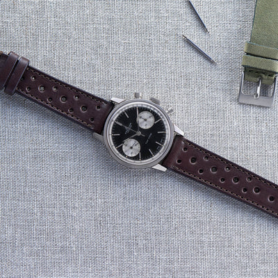 Dark Brown Leather Racing Watch Strap alternate image.