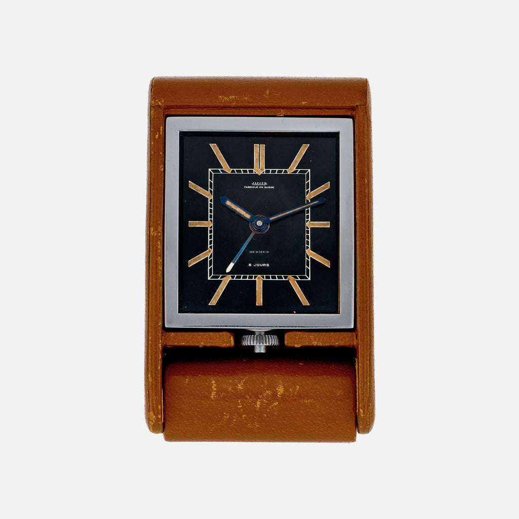 1930s Jaeger '8 Jours' Travel Alarm Clock, Signed Hermès With Travel Case