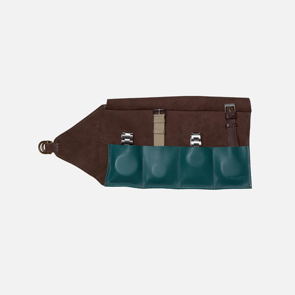 Dark Teal Leather Roll For Four Watches