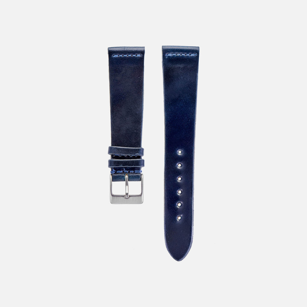 Unlined Blue Shell Cordovan Watch Strap