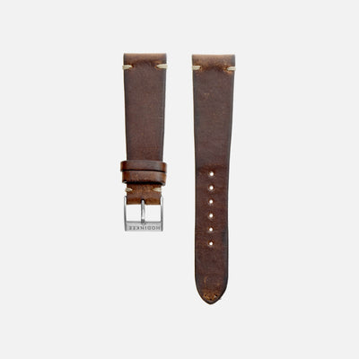 Smooth Stained Brown Leather Watch Strap