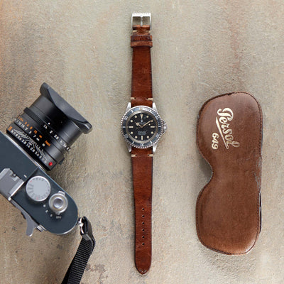 Smooth Stained Brown Leather Watch Strap alternate image.