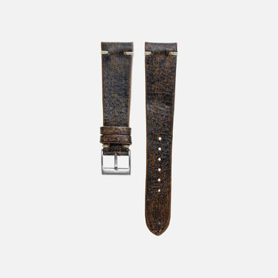 Dark Stained Brown Leather Watch Strap
