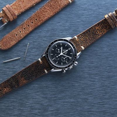 Dark Stained Brown Leather Watch Strap alternate image.