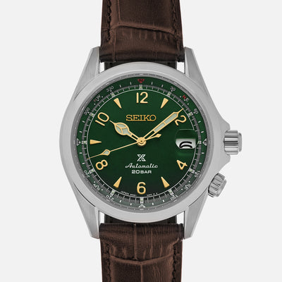 Seiko Prospex 'Alpinist' SPB121 With Green Dial On Brown Strap