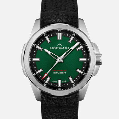 NORQAIN Independence 20 'Scratched Forest Green' Dial On Leather Strap Limited Edition
