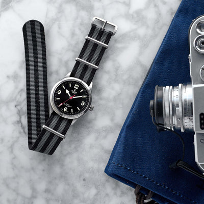 Black And Grey NATO Watch Strap alternate image.