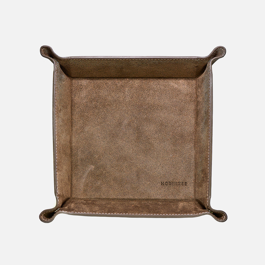Large Grey Suede Valet Tray