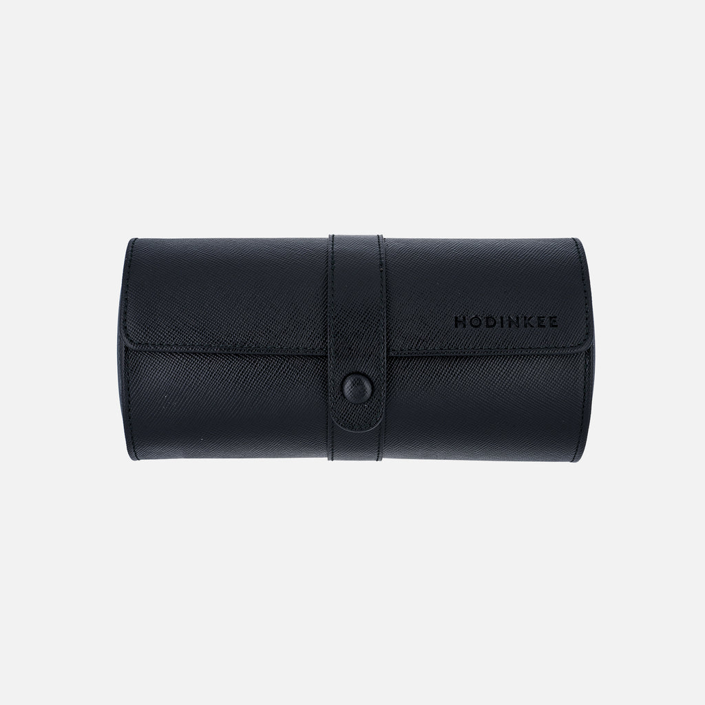 Leather Travel Tube With Divider In Black