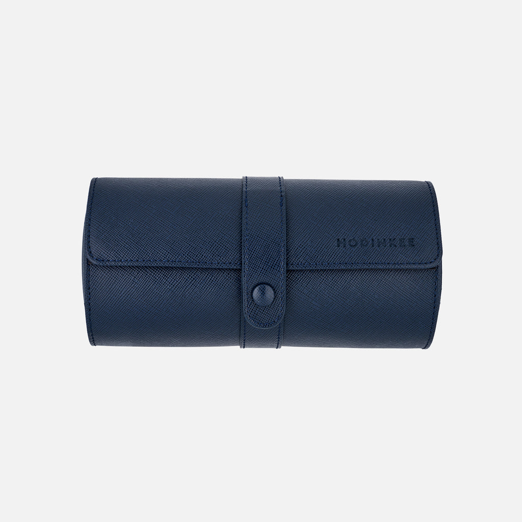 Leather Travel Tube With Divider In Navy Blue