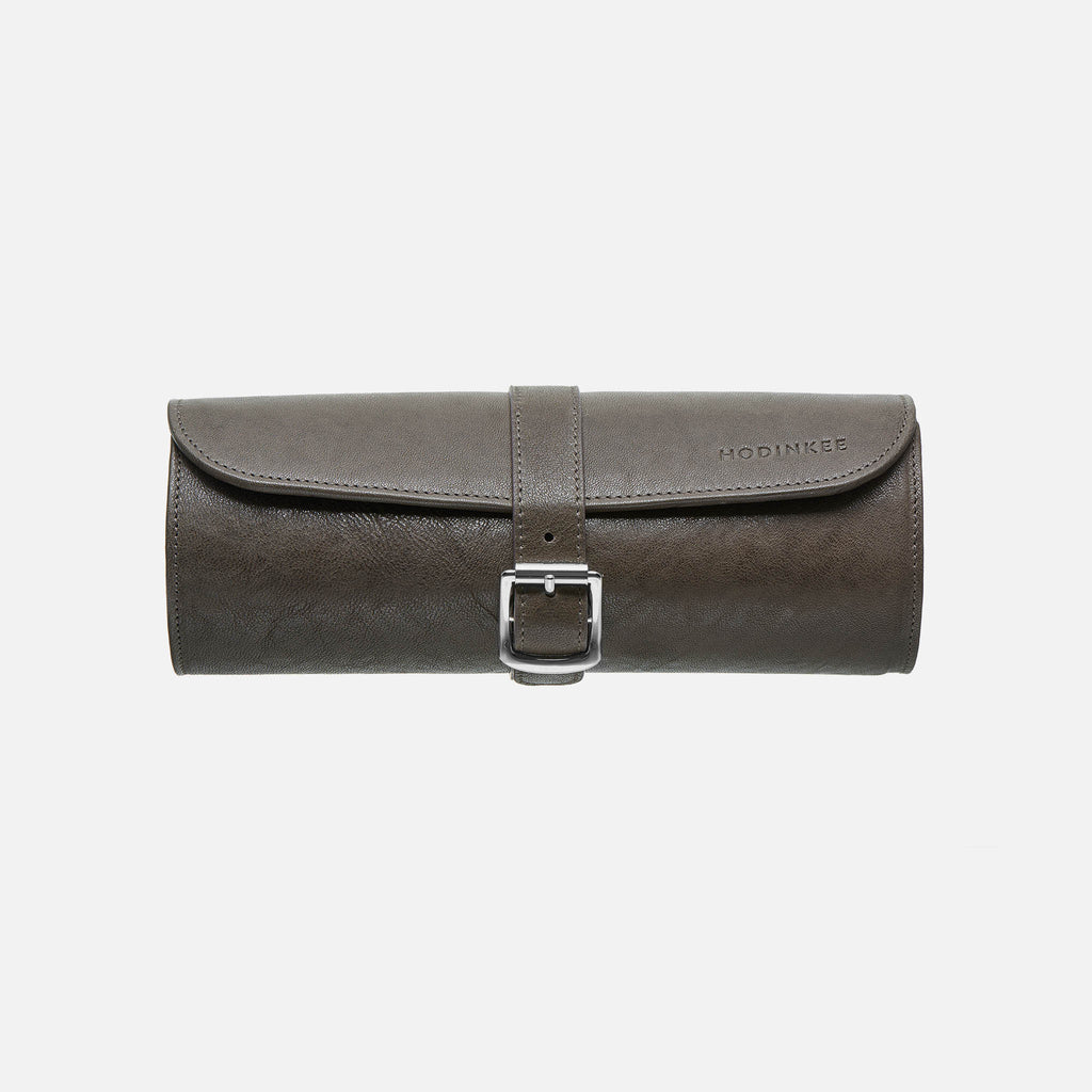 Leather Travel Tube In Grey