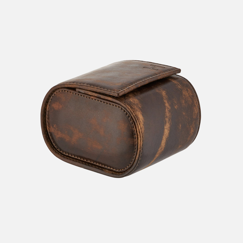 Oval Leather Travel Case For One Watch In Stained Dark Brown