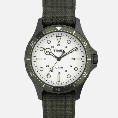 TIMEX Navi XL Quartz 41mm With White Dial And Green Bezel On Single-Piece Fabric Strap