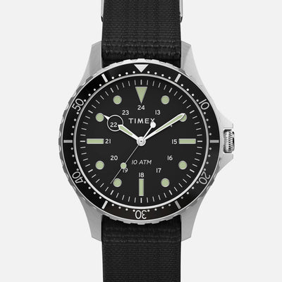 TIMEX Navi XL Quartz 41mm With Black Dial And Bezel On Single-Piece Fabric Strap