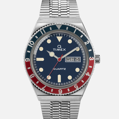 TIMEX Q Timex 38mm Blue Dial With 'Pepsi' Bezel