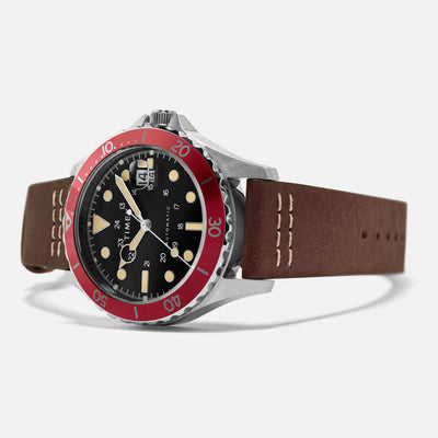 TIMEX Navi XL Automatic 41mm With Black Dial And Red Bezel On Leather Strap alternate image.