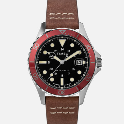TIMEX Navi XL Automatic 41mm With Black Dial And Red Bezel On Leather Strap