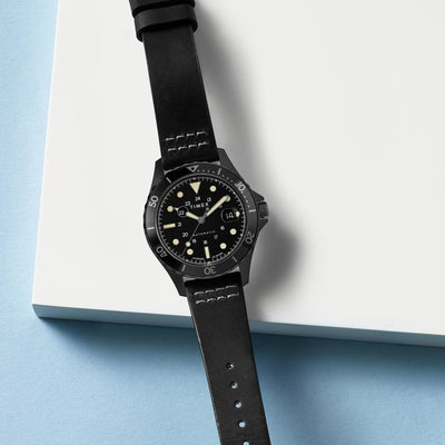 TIMEX Navi XL Automatic 41mm With Black-IP Coating And Leather Strap alternate image.