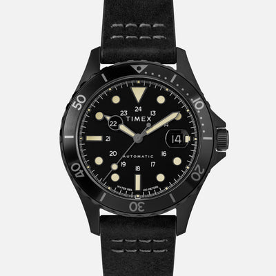 TIMEX Navi XL Automatic 41mm With Black-IP Coating And Leather Strap