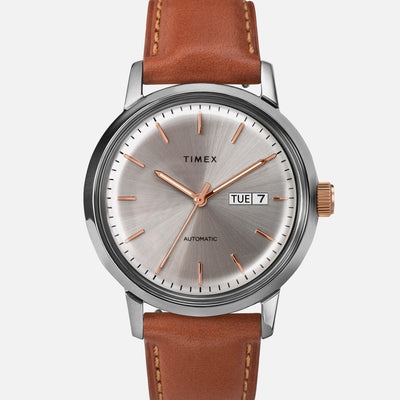 TIMEX Marlin Automatic Day-Date 40mm With Silver Dial And Gilt Accents